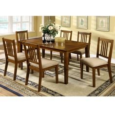 Mackay Transitional Style Dark Oak Finish 7Piece Dining Set -- More info could be found at the image url.Note:It is affiliate link to Amazon.