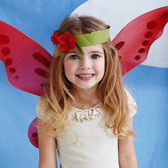 """No need to buy tons of costumes for the Woodland party. Girls can cut and fold paper to make these pretty flower headbands.                 What you'll need Green and red wrapping paper, brown craft paper, scissors, craft glue, tape                 Make it 1. Cut a 24""""x1"""" strip of green paper and place it horizontally on your work surface.                 2. Cut six 1"""" squares of red paper. Fold five in half twice for smaller squares.                 3. Glue the folded point of the smaller…"""