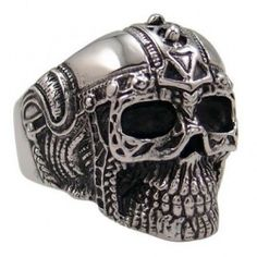 316L Stainless Steel Ancient Guard Skull,HEAVY METAL,PUNK,SKATER,BIKER  Ring