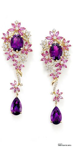 Purple earrings: Ganjam's Le Jardin new jewellry collection Purple Jewelry, Amethyst Jewelry, I Love Jewelry, Jewelry Accessories, Fine Jewelry, Jewelry Design, Purple Earrings, Sapphire Earrings, Dangly Earrings