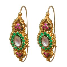 "French late 18th Century Paste Gold ""Poissarde"" Earrings .Diamond, Emerald and Ruby paste stones, set in 18K gold, decorate these ornate, antique earrings. Circa 1790s"