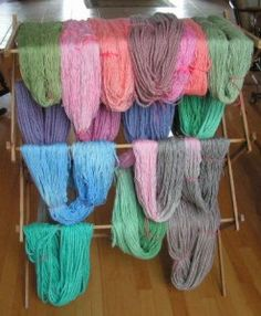 More alpaca yarn, dyed and hanging to dry!   You know you want some.
