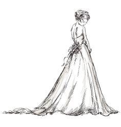 46698daf8 Custom drawing of a bride in her wedding dress by Diane Bronstein ...