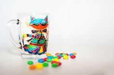 Psychedelic Cat Mug Hand Painted Glass Coffee Cup by Vitraaze
