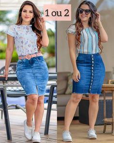 Plus size outfits Dressy Casual Outfits, Curvy Outfits, Stylish Outfits, Plus Size Outfits, Casual Wear, Denim Skirt Outfits, Denim Outfit, Denim Fashion, Fashion Outfits