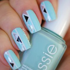 Essie Mint Candy Apple striping tape manicure