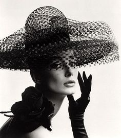 Tania Mallet in a Madame Paulette stiffened net picture hat, photo John French. London, UK, 1963