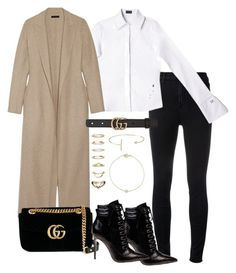 """""""Untitled #3913"""" by theeuropeancloset ❤ liked on Polyvore featuring J Brand, The Row, Gucci, Forever 21 and Jeweliq"""