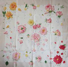 HERMES La Rosee SILK SCARF by Annie Gavarni Roses Flowers Pink Rose #HERMS #Scarf #Romantic