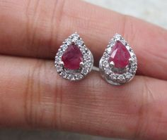 Ruby Diamond Earrings, Natural Pear Ruby & Diamond Earring Studs in White Gold, Anniversary Gift White Gold Diamonds, Colored Diamonds, Round Diamonds, Ruby Earrings, Diamond Earrings, Diamond Studs, Food Styling, K Color Diamond, Etsy Jewelry