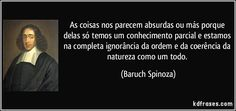 As coisas nos parecem absurdas ou más porque delas só temos um conhecimento parcial e estamos na completa ignorância da ordem e da coerência da natureza como um todo. (Baruch Spinoza)