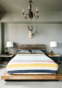 Love the pallet bed and the size of the end tables.  Of course, they'd be covered in stuff if I actually had them.
