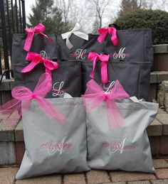 """Personalized Bridesmaid Totes, find your colors and add special """"ingredients"""" so your brides' maids will feel special. We've got ideas for you! destinationweddings.travel"""