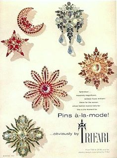 Trifari ad Pins a la mode Mode Vintage, Vintage Ads, Vintage Designs, Vintage Glam, Vintage Fashion, Jewellery Advertising, Jewelry Ads, Body Jewelry, Vintage Costume Jewelry