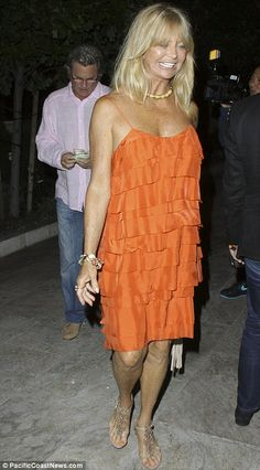 Goldie Hawn looks amazing in this orange dress!  inspiring.  p.s. she is 66. Now she is a BOHEMIAN BETTY!