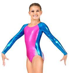 Mondor Child Gymnastics Long Sleeve Metallic Leotard