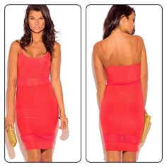 Coral spaghetti strap minidress Gorgeous sleek and chic coral minidress  96% polyester 4% spandex Dresses Mini