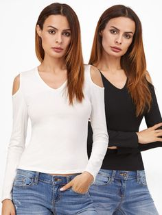 Camiseta con hombros al aire-Sheinside