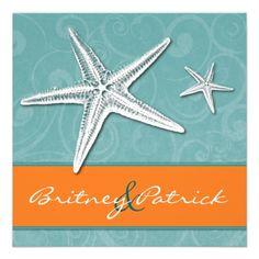 Beach Orange & Aqua Starfish Wedding Invitations