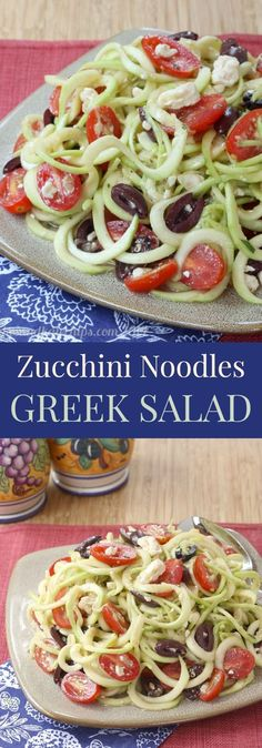 Zucchini Noodles Greek Salad light Mediterranean zoodles with olives and feta are a healthy side dish or meatless meal cupcakesandkalech vegetarian gluten free low car. Greek Recipes, Low Carb Recipes, Diet Recipes, Vegetarian Recipes, Cooking Recipes, Healthy Recipes, Vegetarian Dinners, Recipies, Vegetarian Cooking