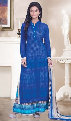 Add grace and charm towards look in this palazzo suit in blue color shade georgette. The ethnic lace work at dress adds a sign of attractiveness statement with a look. Palazzo Dress, Palazzo Suit, Indian Dresses, Indian Outfits, Salwar Kameez Online, Georgette Fabric, Indian Ethnic Wear, Color Shades, Mandarin Collar