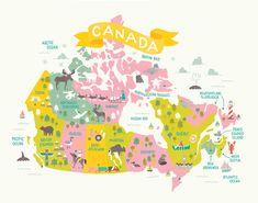 LITTLE BLUE CANOE CANADA MAP - Jacqui Lee Illustration