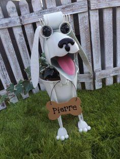 Personalized  White Toy Poodle Dog Garden by IngridsSecretGarden, $45.00