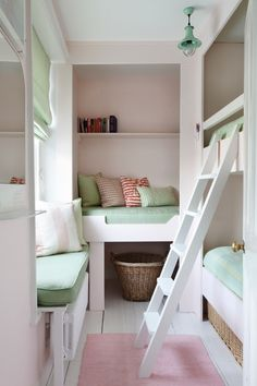You don't need tons of space to overnight weekend guests and family visitors. Just smart use of space as this mint & pink bunk room demonstrates so well.