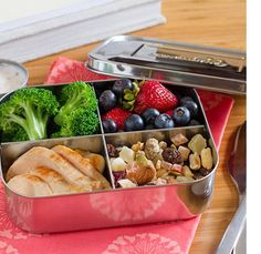 LunchBots Quad All Stainless - 4 Compartment Food Container, Stainless Steel
