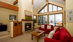 Whistler Rental Northern Lights #32 Living Room with Vaulted Ceiling