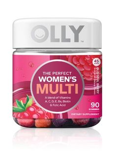 Olly The Perfect Women's Multi-Vitamin Blissful Dietary Supplement Gummies – Berry – - Prenatal Vitamins Olly Vitamins, Vitamins For Skin, Vitamins For Women, Natural Vitamins, Centrum Multigummies, Sunburn Relief, Prenatal Vitamins, Folic Acid, Perfect Woman