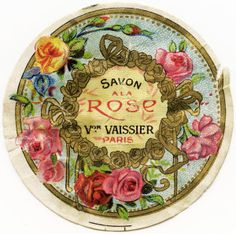 vintage French label, French beauty label, savon rose image, antique french label clipart