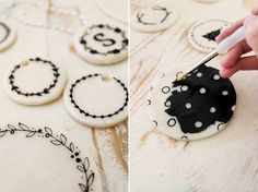 Monochrome Christmas Ornaments - These DIY Clay Ornaments are Simple to Make this Holiday Season (GALLERY)