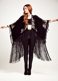 Velvet Fringe Kimono - The Midnight Magic Luxe by shevamps on Etsy https://www.etsy.com/ca/listing/200430448/velvet-fringe-kimono-the-midnight-magic