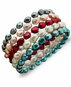 Fresh by Honora Pearl Bracelet Set, Multicolor Cultured Freshwater Pearl Set of Five $48