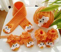 naranja equipo bufanda hecha punto la gorrita tejida, guantes y botines