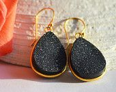 Love these Black Druzy Quartz  Vermeil Gold bezel set Earrings - Large Gemstone Earrings