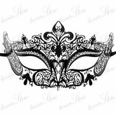 Luxury Black Laser Cut Venetian Masquerade Mask Cosplay with Sparkling Rhinestones - Made of Light Metal