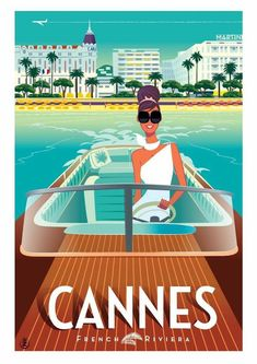 Cannes Vintage Style Poster Cote D'Azur Sout of France French Riviera Art Deco Posters, Vintage Travel Posters, Vintage Ads, French Vintage, Vintage Style, Retro Posters, Plakat Design, Kunst Poster, Illustrations And Posters