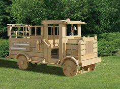 Wood Fire Truck Playset #Virginia #playground #kids