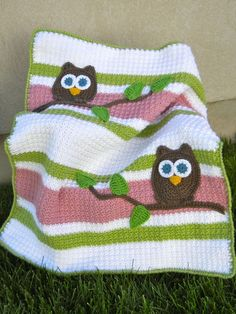 Owl Baby Blanket Pink Green and White for purchase but I think it's easy enough to replicate without a written pattern.