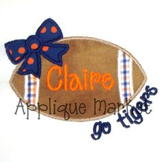 Machine Embroidery Design Applique Football Bow Go Tigers INSTANT DOWNLOAD