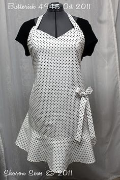 My version of the Anthro Polka Dot apron using Butterick 4945