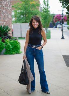 Moto Jacket + Wide Leg Jeans: 22 Days of Fall Fashion - Cyndi Spivey