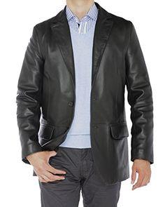 Luciano Natazzi Men's Lambskin Leather Blazer Two Button Modern Fit Jacket (Medium / US 38-39, Black)