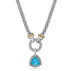 18K Yellow Gold and Sterling Silver Blue Topaz Trilliant Style Popcorn Necklace