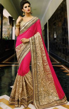 Show details for Tan Brown and Hot Pink Color Saree With Beautiful Fancy Pallu