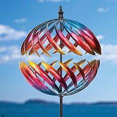Garden Wind Sculpture Kinetic Windmill Metal Yard Art Turbine Multicolor Spinner