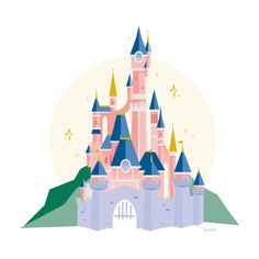 Cinderella Castle by Kelly McMahon Disney Castle Drawing, Castle Cartoon, Disney Drawings, Disneyland Castle, Castle Illustration, Paris Illustration, Disney Illustration, Castle Painting, Tangled