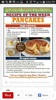 Puddin' Pancakes - use any flavor pudding.  You may use 2 egg whites in place of the 1 egg so you don't have to rob protein from your 8 oz at dinner.